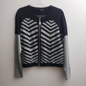 Coco + Carmen Zip Cardigan L/XL Black Gray Stripes